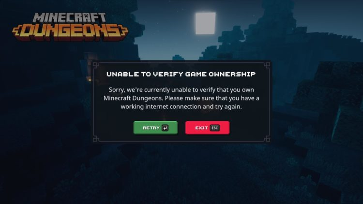 Minecraft Dungeons Xbox Live Verify Game Ownership Error Unable To Sign In 1