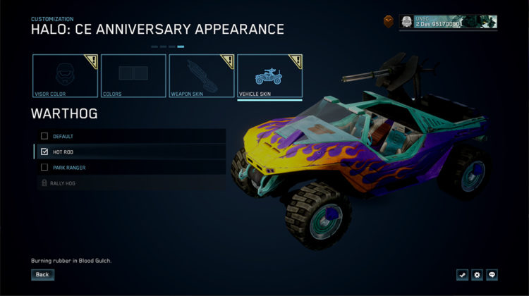 Halo Mcc Season 2 Vehicles 343 cosmetics