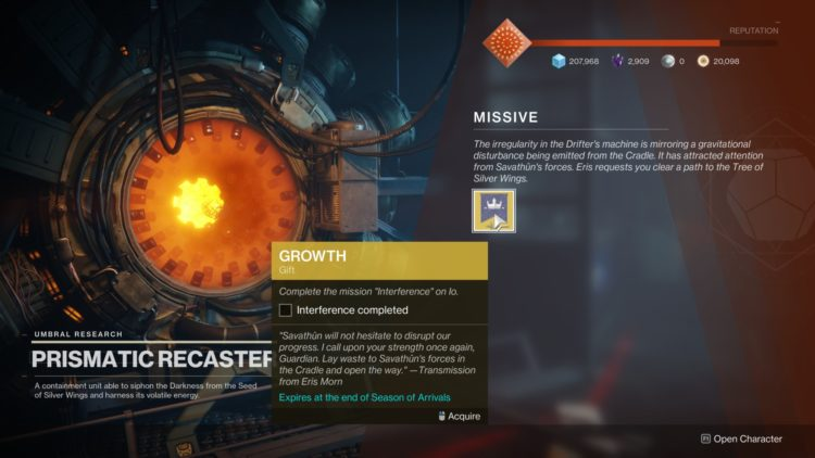 Destiny 2 Season Of Arrivals Titan Weekly Interference Mission Means To An End Missive 1