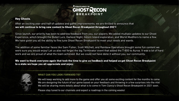 Ubisoft Promises More Updates For Ghost Recon Breakpoint In 2021