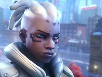 Sojourn and her railgun steps onto the stage in Overwatch 2